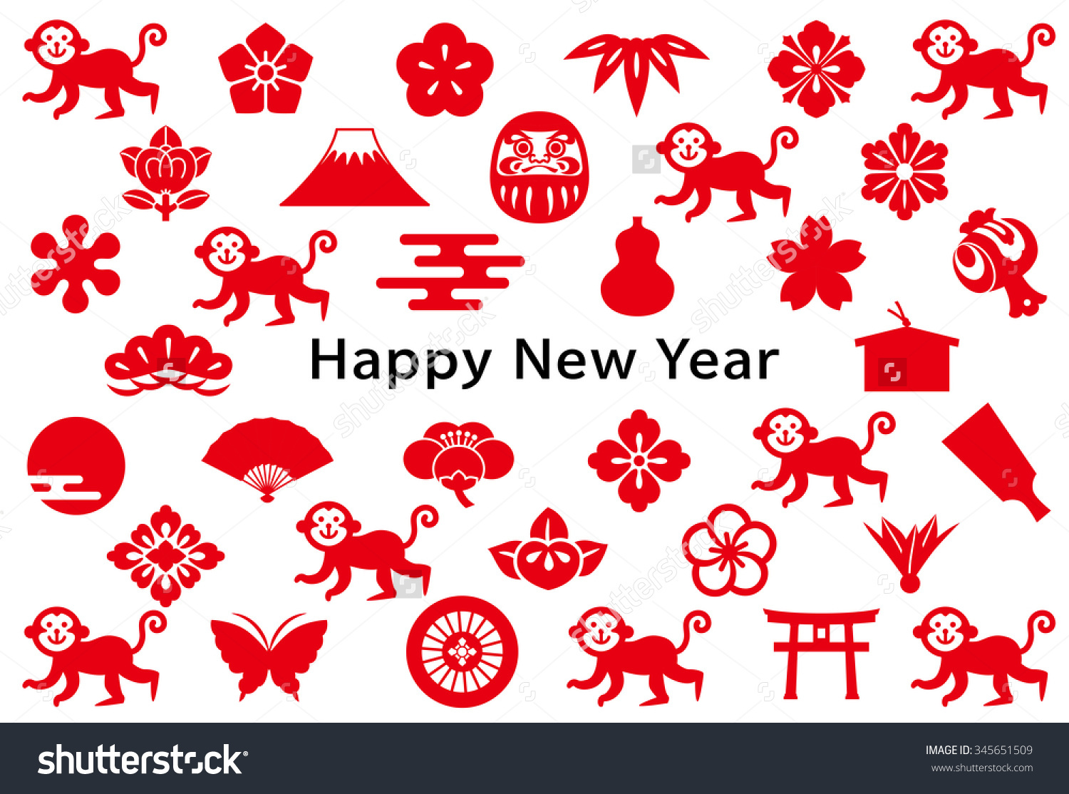 Monkey clipart icon new year vector free download New Year Card With Monkey And Japanese Icons. Stock Vector ... vector free download