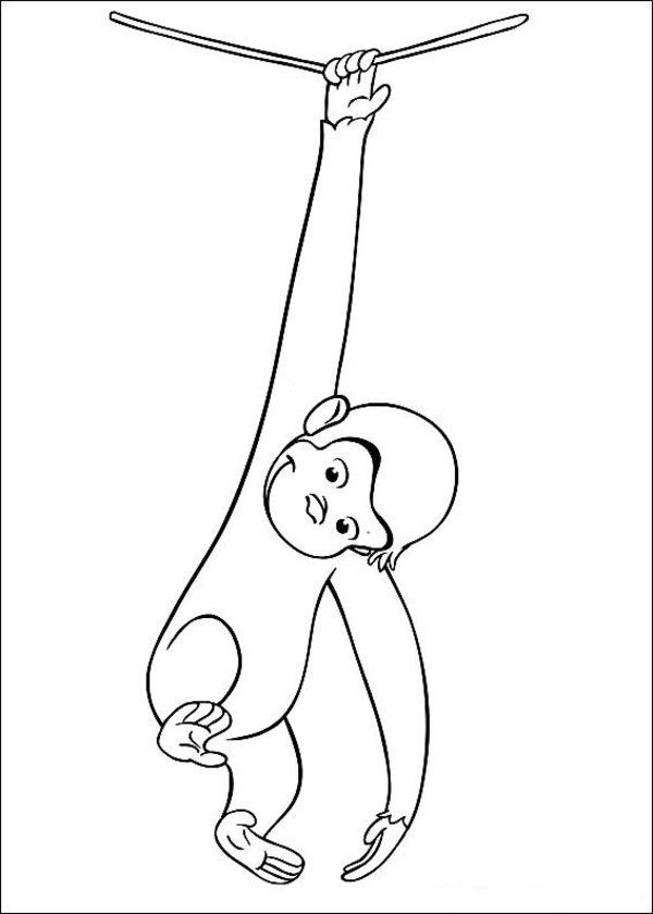 Monkey george of the jungle clipart black and white png library library Free Printable Curious George Coloring Pages   Coloring ... png library library