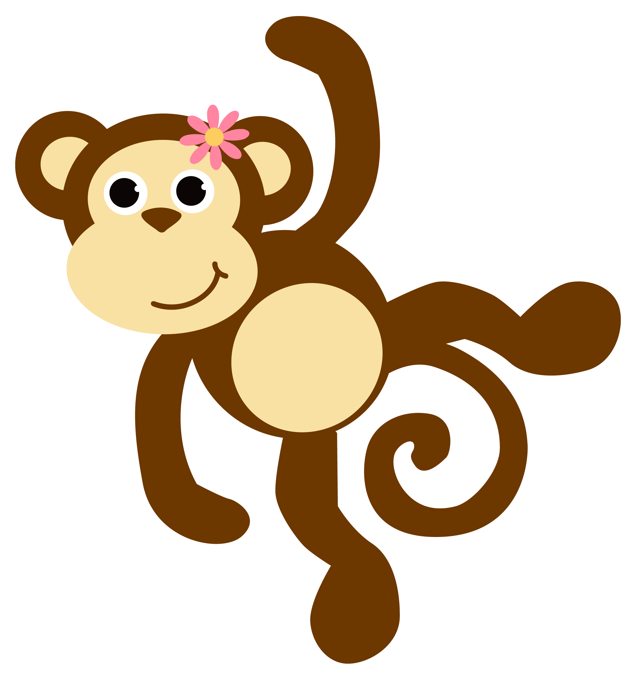 Monkey hanging from tree clipart clip art black and white stock Funky Monkey Clipart - 2018 Clipart Gallery clip art black and white stock