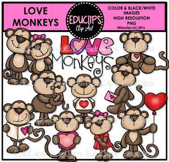 Monkey love clipart svg library stock Love Monkeys Clip Art Bundle {Educlips Clipart} svg library stock