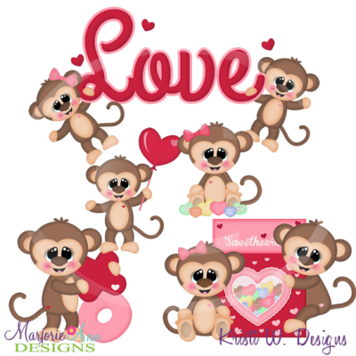 Monkey love clipart royalty free library Monkey Love Cutting Files-Includes Clipart - $2.10 ... royalty free library