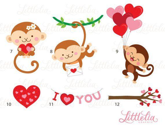 Monkey love clipart image freeuse stock Monkey love clipart - valentine clipart - 16095 | Tattoo ... image freeuse stock