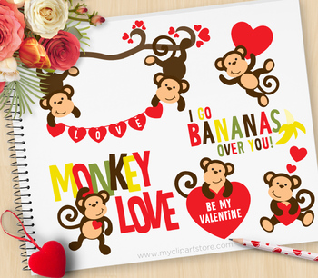 Monkey love clipart graphic library download Clipart - Monkey Love / Valentine Monkeys graphic library download