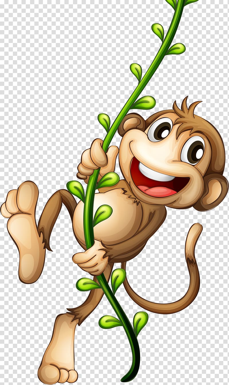 Monkey on vine clipart graphic free Cartoon Monkey , Cartoon monkey, monkey holding vine ... graphic free