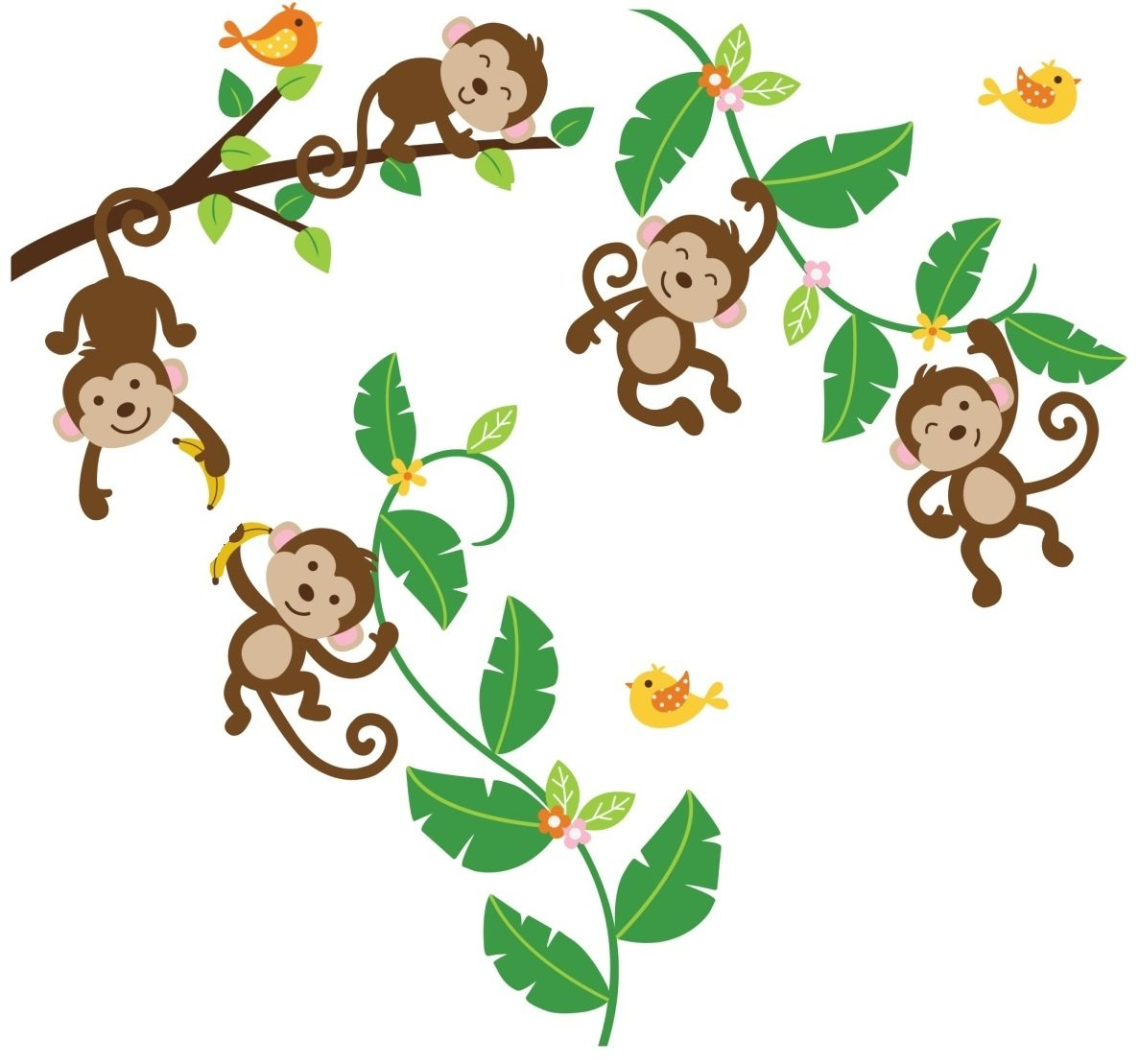 Monkey on vine clipart picture library library Monkeys Swinging on Vines Giant Peel & Stick Wall Art Sticker Decals picture library library