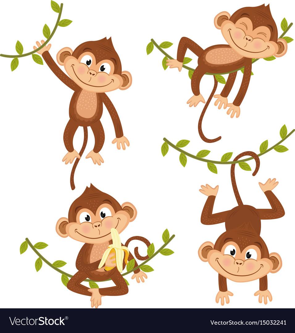 Monkey on vine clipart jpg freeuse stock Set of isolated monkey hanging on vine jpg freeuse stock