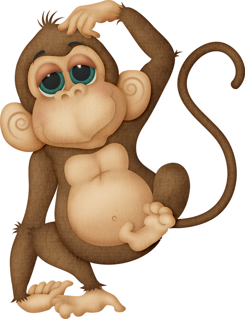 Monkey tree clipart vector freeuse stock Monkey funny on one foot scratching head | jos baby shower theme and ... vector freeuse stock