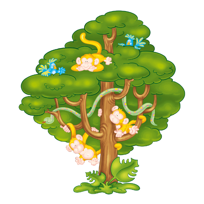 Monkeys in a tree clipart png free library Welcome to the Tropics Wall Stickers for Kids Rooms , Little Monkeys ... png free library