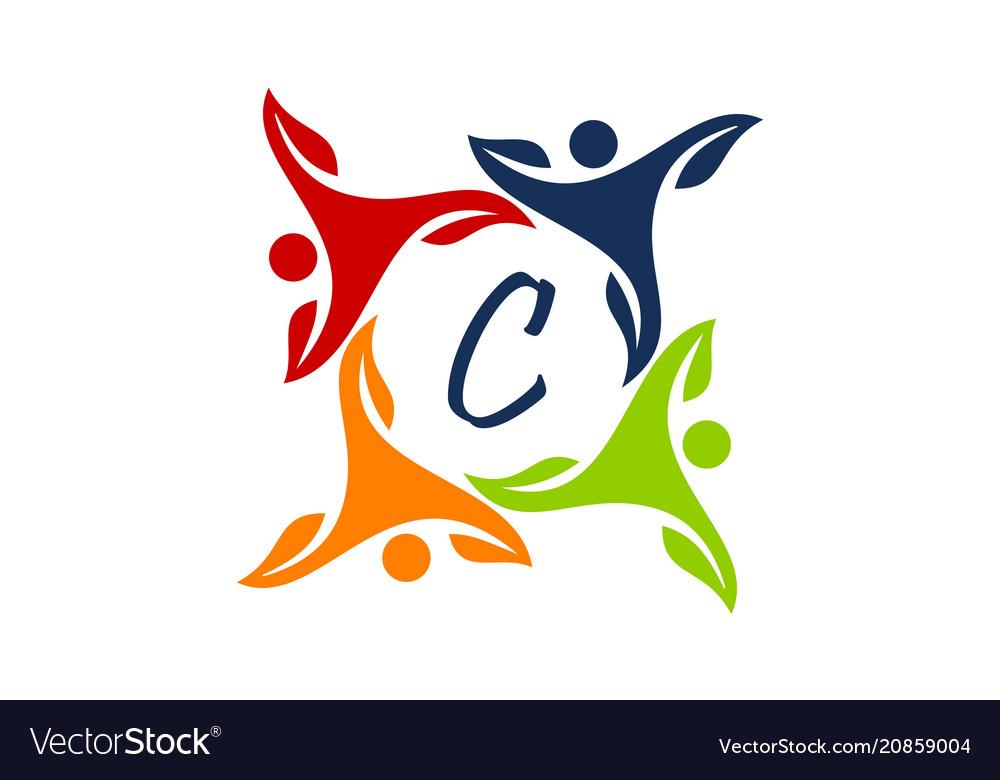 Monogram letter c b together free clipart jpg black and white Leaf people health together letter c vector image jpg black and white