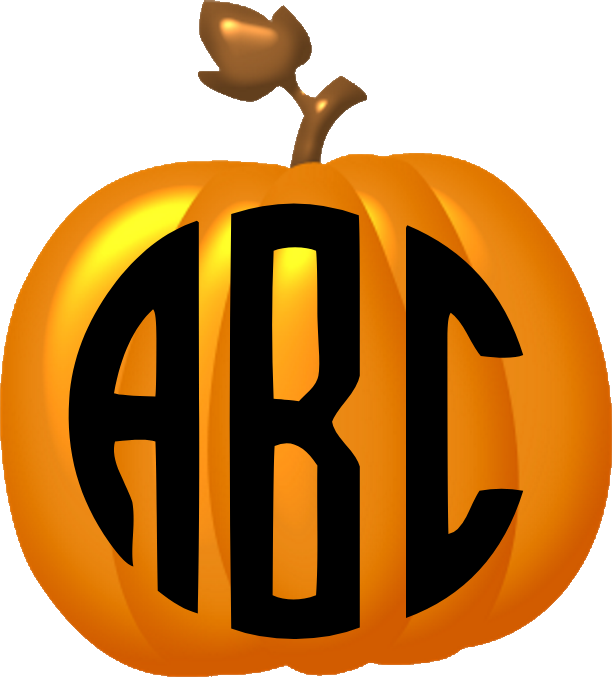 Pumpkin with monogram clipart graphic royalty free stock Fall, Halloween and Thanksgiving graphic royalty free stock