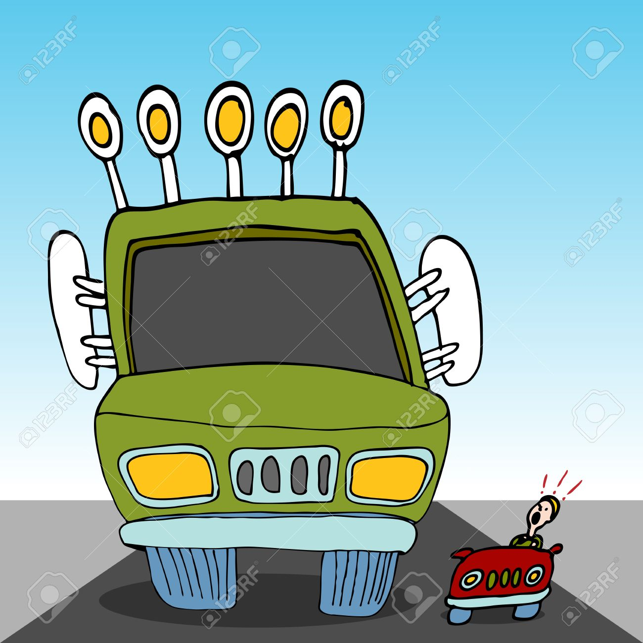 Monster driving car of car clipart clip art royalty free An Image Of A Monster Sized Truck Driving Next To A Tiny Car ... clip art royalty free