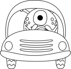 Monster driving car of car clipart vector black and white download Cute Black and White Car | Printables | Pinterest | Cars, Black ... vector black and white download