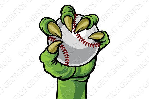 Monster hands clipart vector free stock Claw Monster Hand Holding a Baseball Ball. Monster #baseball ... vector free stock