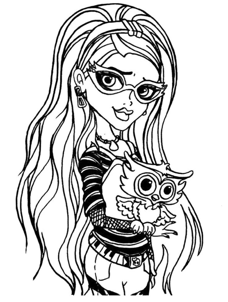 Monster High Pets Coloring Pages Printable - Get Coloring Pages | 977x736