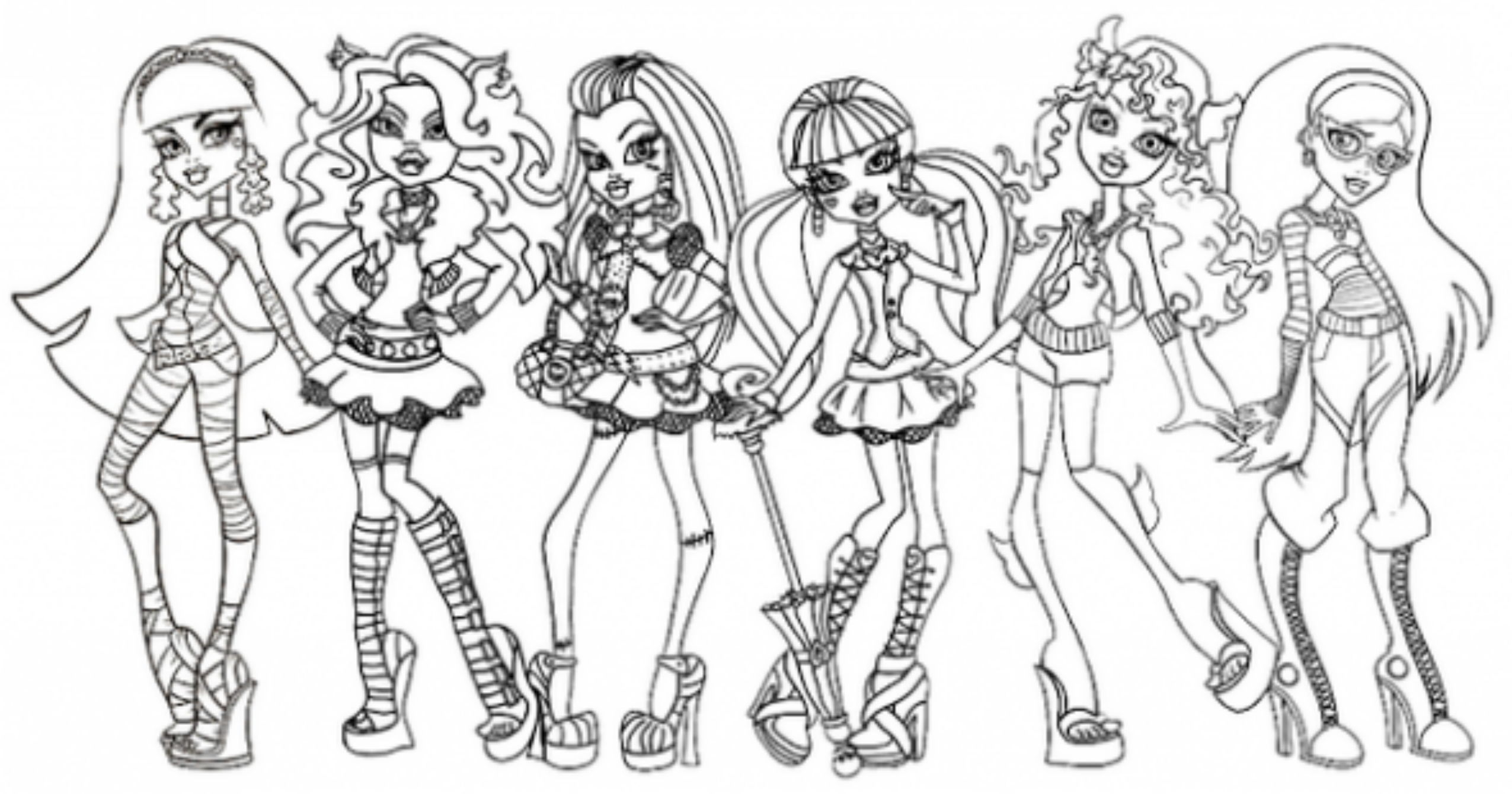 Monster high black and white clipart png stock Monster High Black And White Coloring Pages png stock