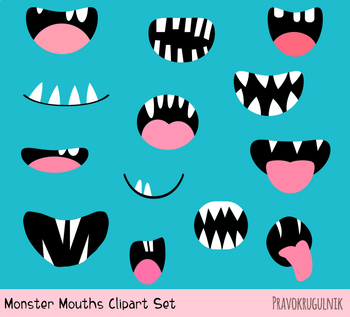 Monster mouths clipart jpg free Spooky monster mouths clipart, Funny ugly Halloween alien face elements  teeth jpg free