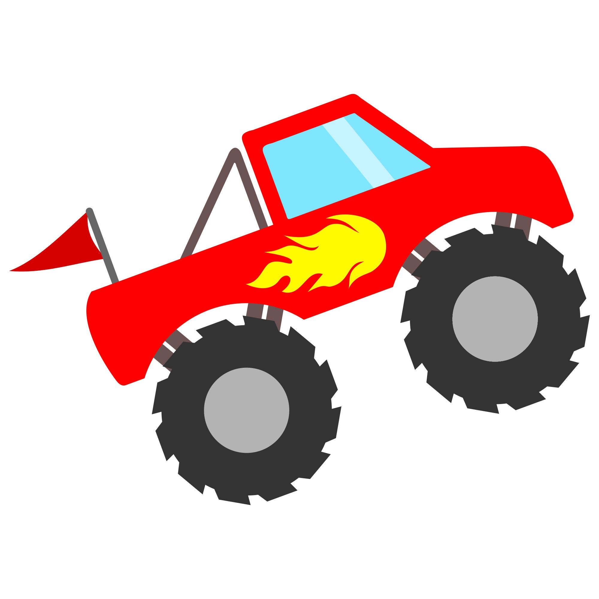 Monster trucks clipart clip royalty free library Monster Truck with Flames SVG file for Cricut and Silhouette ... clip royalty free library