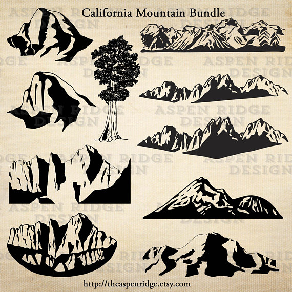 Sierra nevada clipart banner black and white stock California mountain clipart bundle eastern sierra nevada, half dome ... banner black and white stock