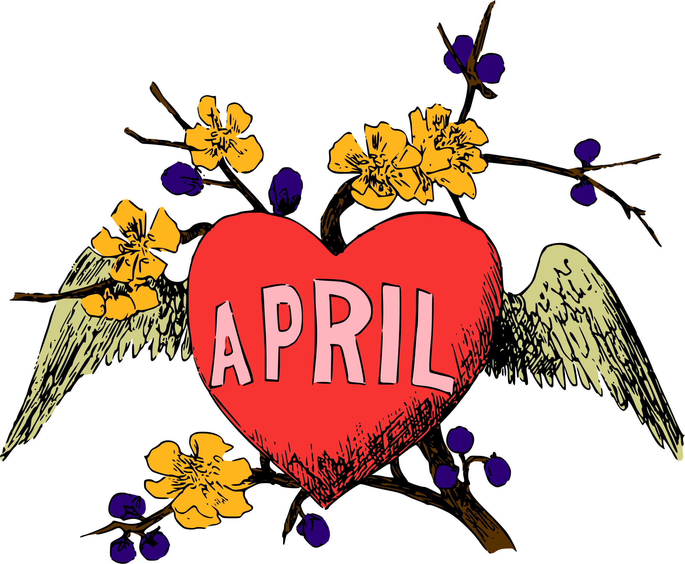April images clipart banner Clipart - Illustrated months (April, colour) banner