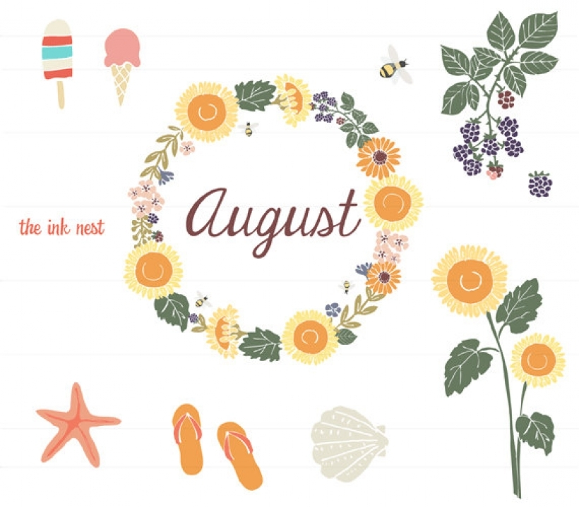Month of august clipart clip black and white download August themes clipart - ClipartFest clip black and white download