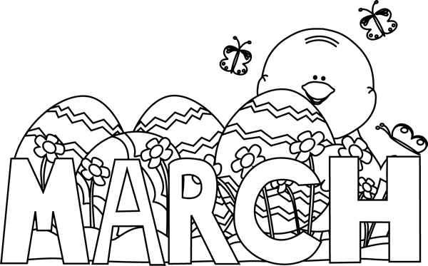 Month of march clip art picture black and white stock Black and White Month of March Easter Clip Art - Black and White ... picture black and white stock