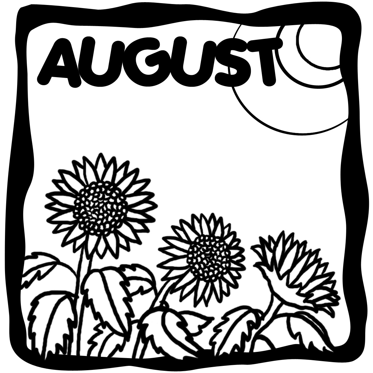 Monthly calendar clipart august