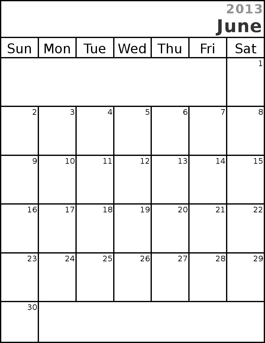 Monthly calendar clipart june svg royalty free download June Calendar Clipart - Clipart Kid svg royalty free download