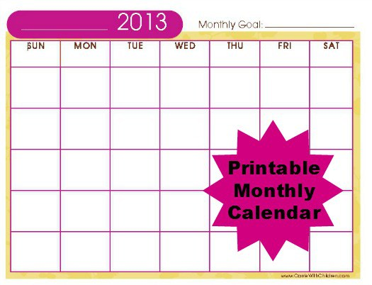 Monthly calendar clipart template vector black and white library Blank Monthly Calendar Template. 2017 calendar templates download ... vector black and white library