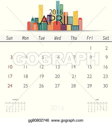 Monthly calendar clipart template clip black and white stock EPS Vector - 2016 calendar with creative building design template ... clip black and white stock