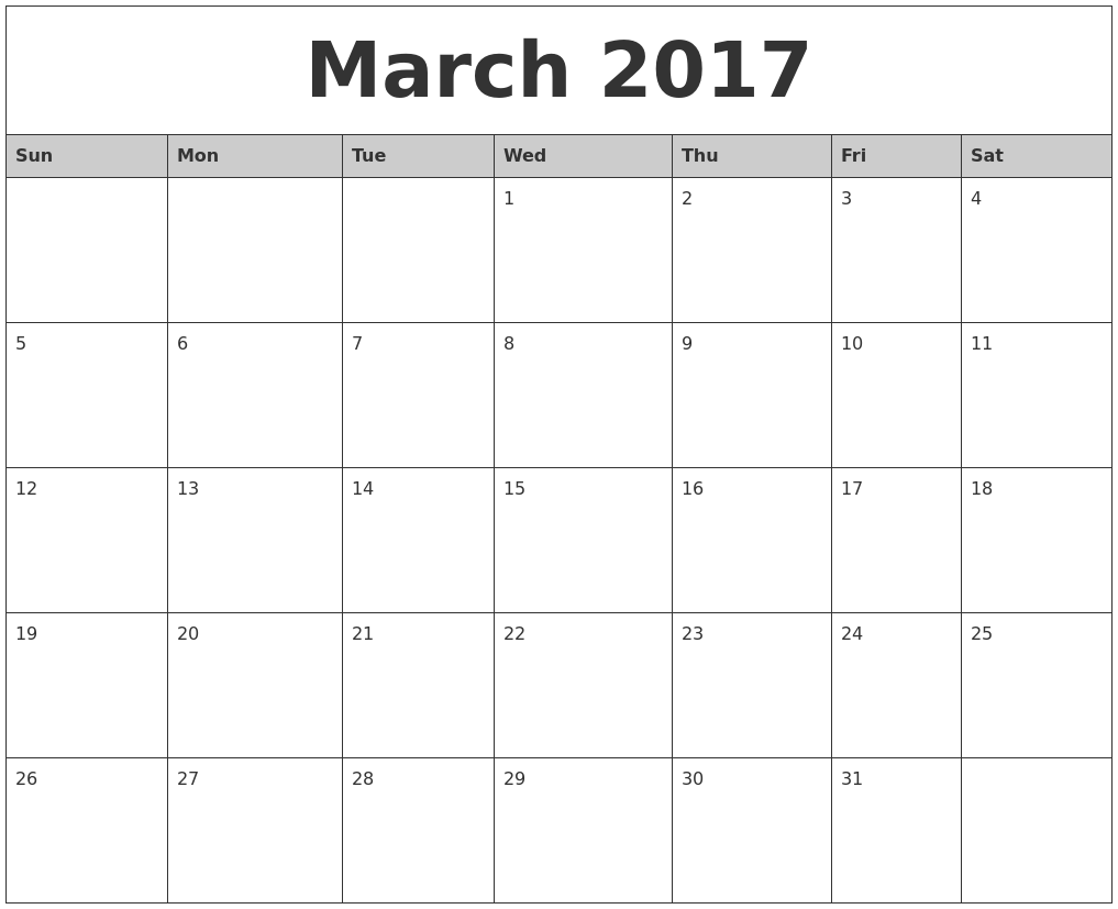 Monthly calendar clipart template png black and white stock March 2017 Calendar Clipart png black and white stock