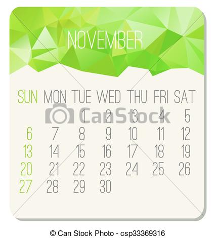Monthly calendar november 2016 clipart jpg royalty free download Vector Clip Art of November 2016 monthly calendar - November 2016 ... jpg royalty free download