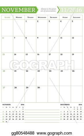 Monthly calendar november 2016 clipart image black and white download Vector Clipart - November 2016. monthly calendar planner for 2016 ... image black and white download