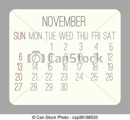 Monthly calendar november 2016 clipart svg free library Vectors of November 2016 monthly calendar - November 2016 vector ... svg free library