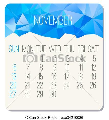 Monthly calendar november 2016 clipart royalty free stock Vector of November 2016 monthly calendar - November 2016 vector ... royalty free stock