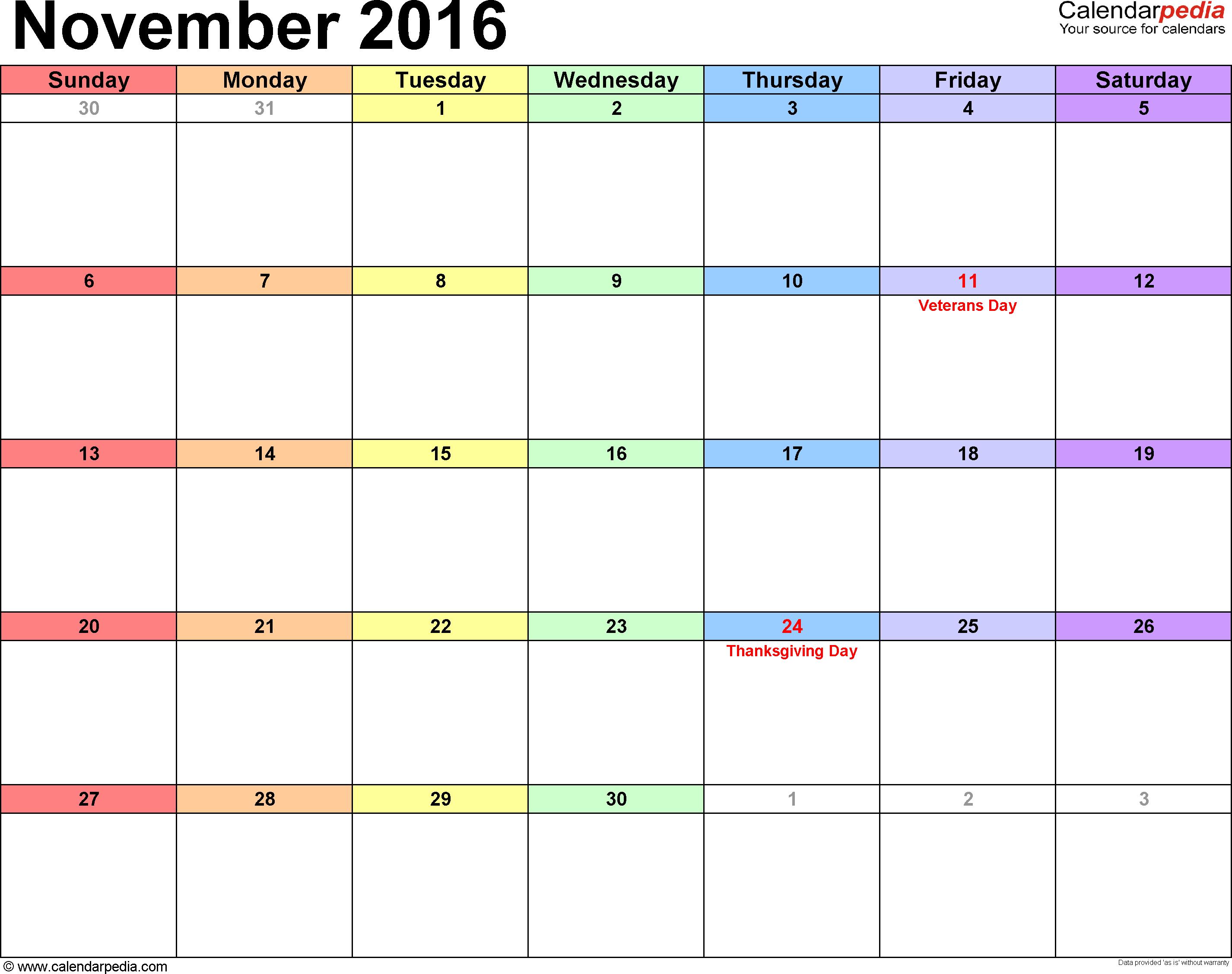 Monthly calendar november 2016 clipart clip art royalty free stock November 2016 Calendars for Word, Excel & PDF clip art royalty free stock