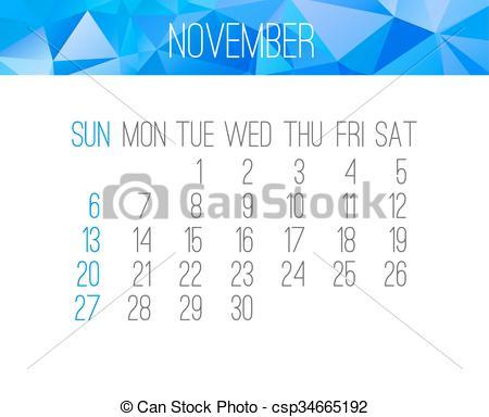 Monthly calendar november 2016 clipart banner EPS Vectors of November 2016 monthly calendar - November 2016 ... banner