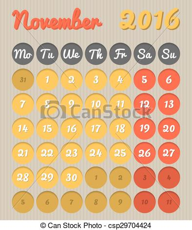 Monthly calendar november 2016 clipart vector freeuse library Vector Illustration of Month planning calendar - November 2016 ... vector freeuse library