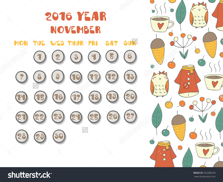 Monthly calendar november 2016 clipart vector free library November 2016 Calendar Cute | monthly calendar printable vector free library