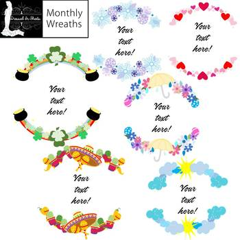 Monthly clipart image royalty free Monthly Wreaths Clipart Set image royalty free