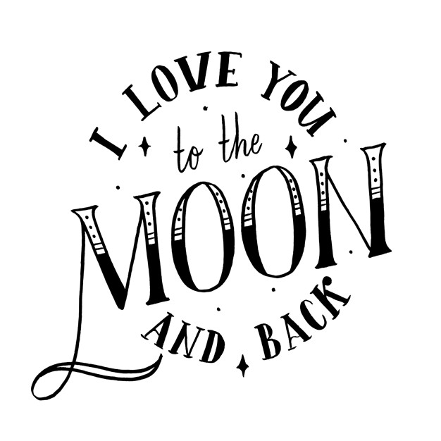 Moon and back clipart black and white clip I love you to the moon and back Vector | Premium Download clip