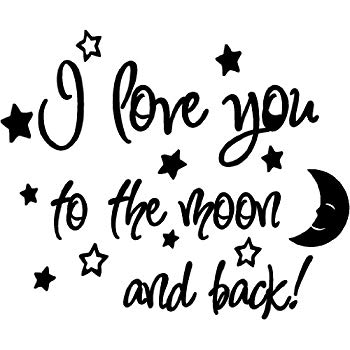 Moon and back clipart black and white png library stock Amazon.com: Designer Stencils I Love You to The Moon and Back ... png library stock