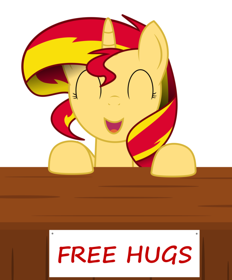 Moon and sun hugging free clipart image black and white stock Sunset Shimmer is giving out free hugs! | My Little Pony: Friendship ... image black and white stock