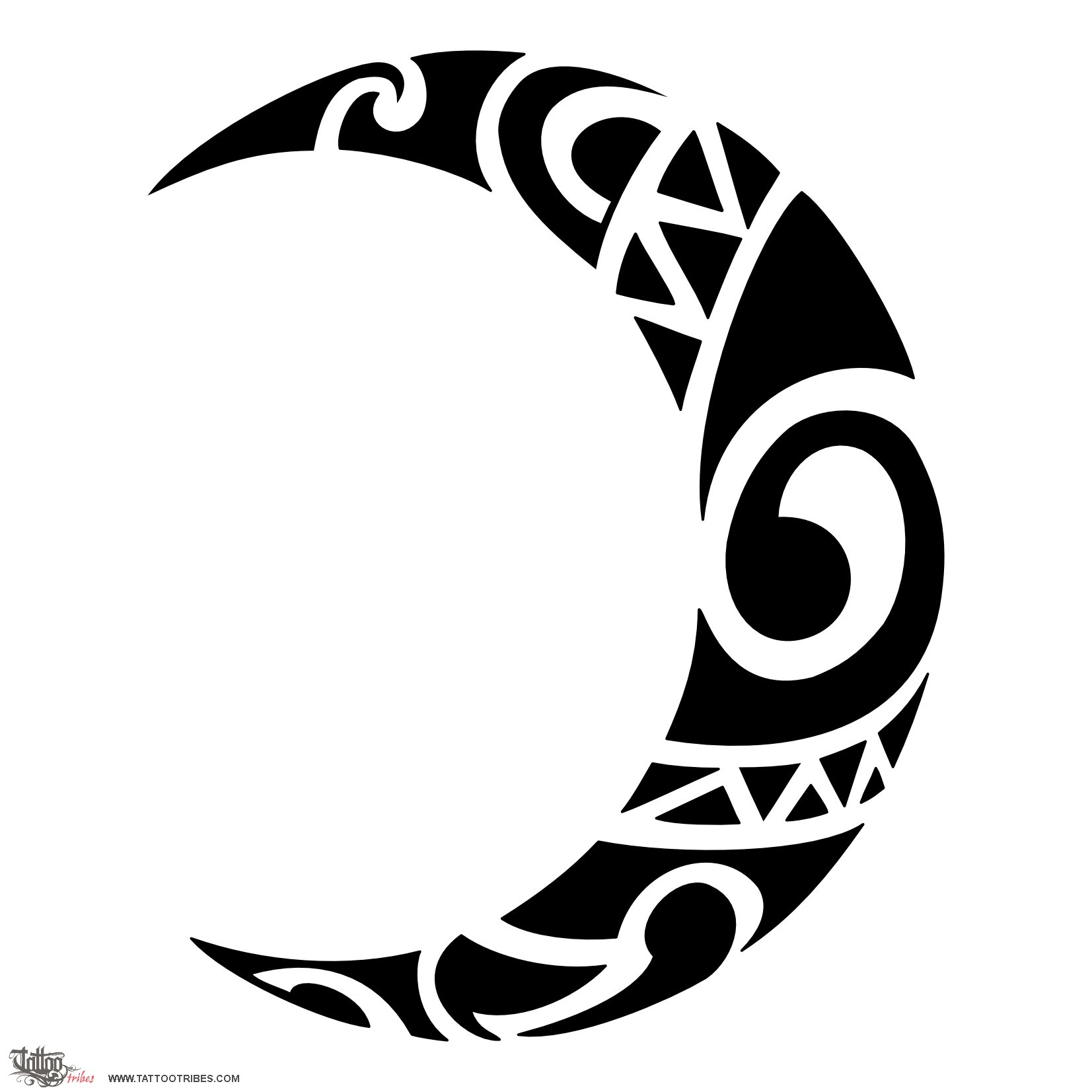 Moon tattoo clipart picture freeuse 43+ Tribal Moon Tattoos picture freeuse