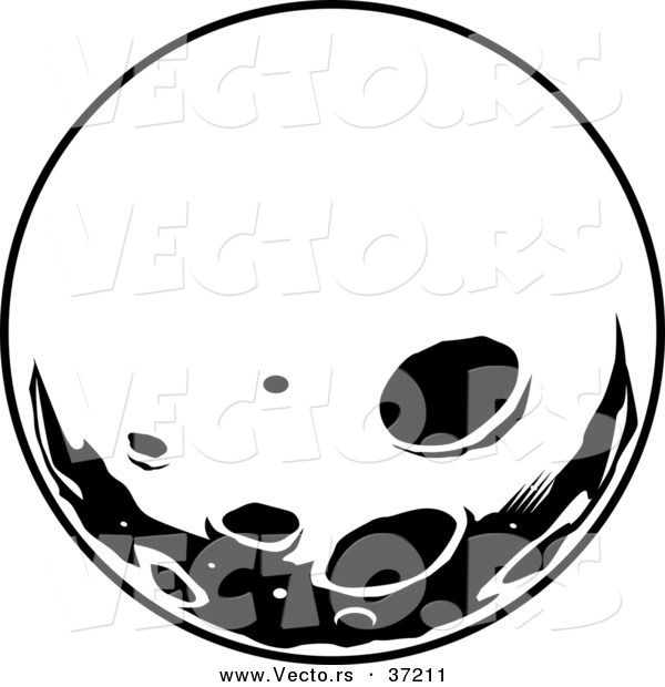 Moon vector clipart clip art transparent library Retro Vector of Moon with Deep Craters - Black and White Line Art ... clip art transparent library