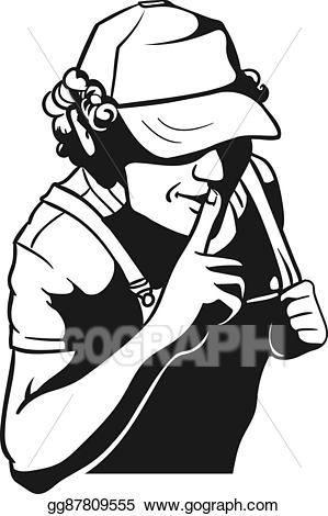 Moonshiner clipart svg royalty free download EPS Vector - Moonshiner and shh gesture. Stock Clipart ... svg royalty free download