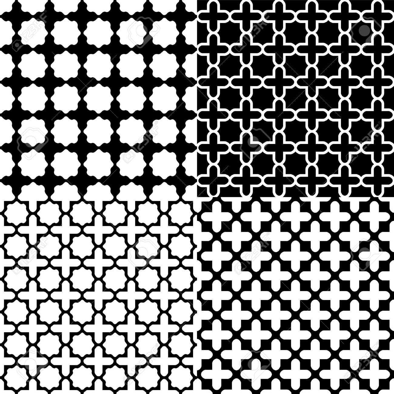 Moroccan patterns clipart clip free Moroccan Black And White Seamless Patterns Set Royalty Free ... clip free