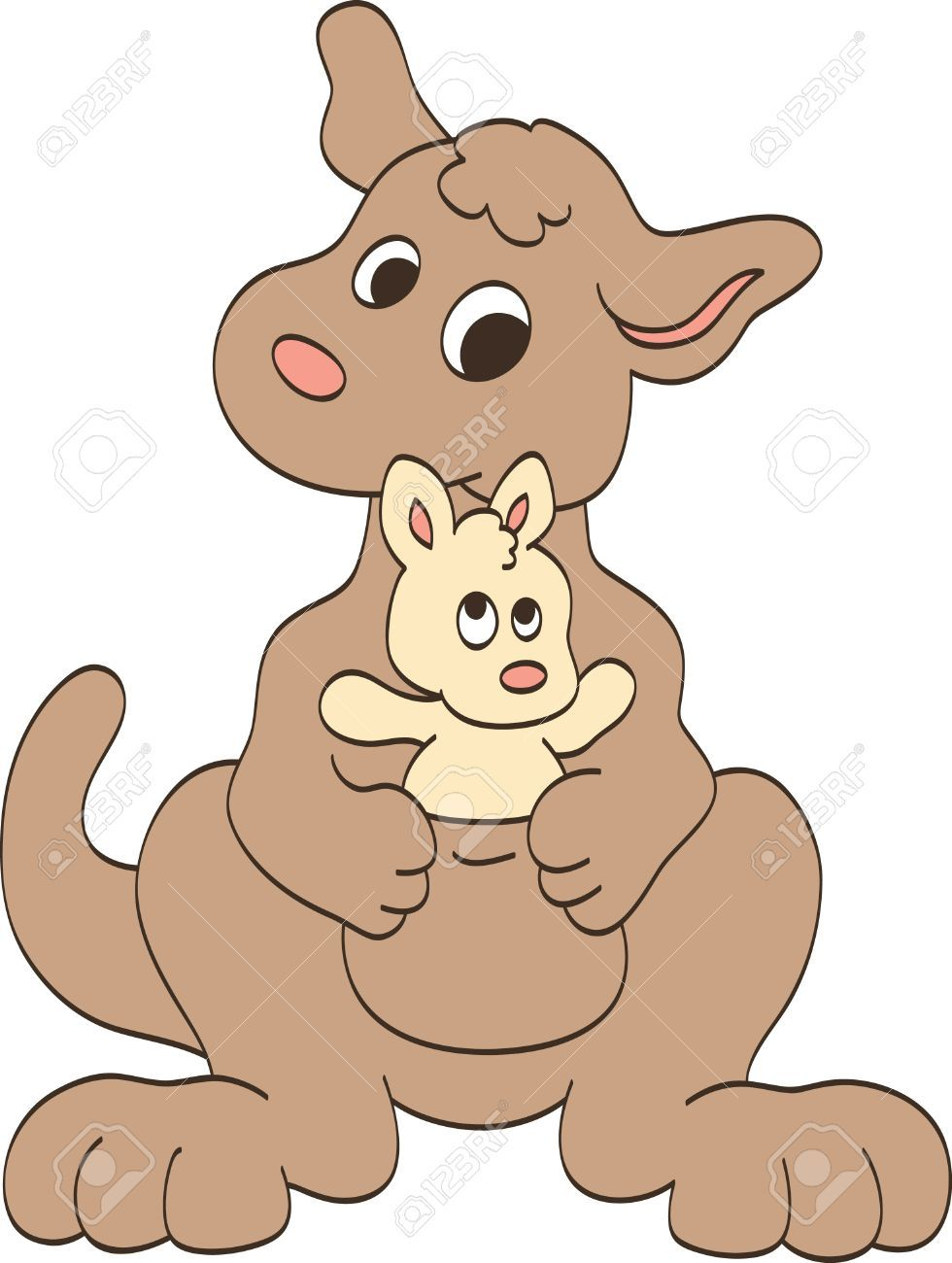 Mother and baby animals cartoon clipart for kids clip black and white library Stock Vector | animal cartoons | Mother, baby animals ... clip black and white library