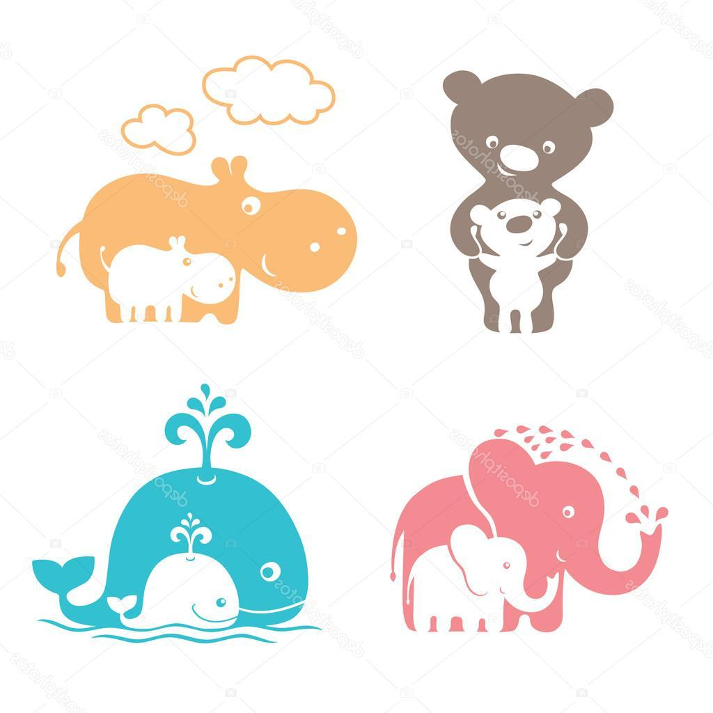 Mother and baby animals cartoon clipart for kids vector royalty free download Top Cute Baby Animals Moms Vector Pictures » Free Vector Art ... vector royalty free download