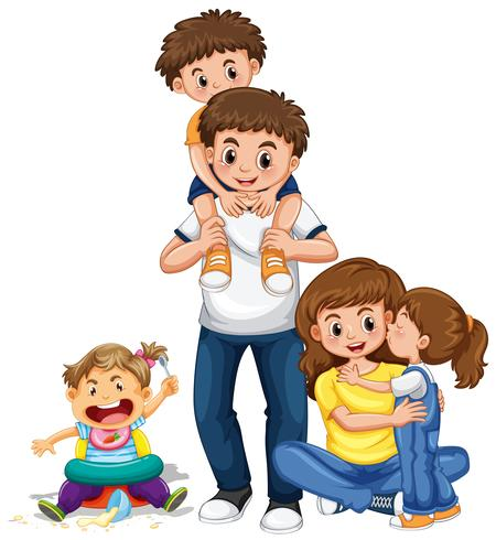 Mother and father holding hands free clipart graphic freeuse download Family with parents and three kids - Download Free Vectors ... graphic freeuse download