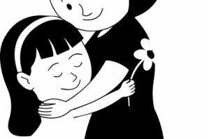 Mother hugging children clipart black and white vector Mother and child clipart black and white 5 » Clipart Portal vector
